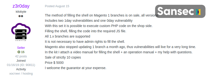 attack on Magento-based stores