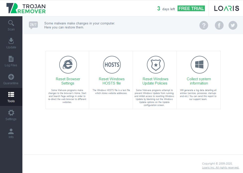 System repairing tools in Loaris Trojan Remover
