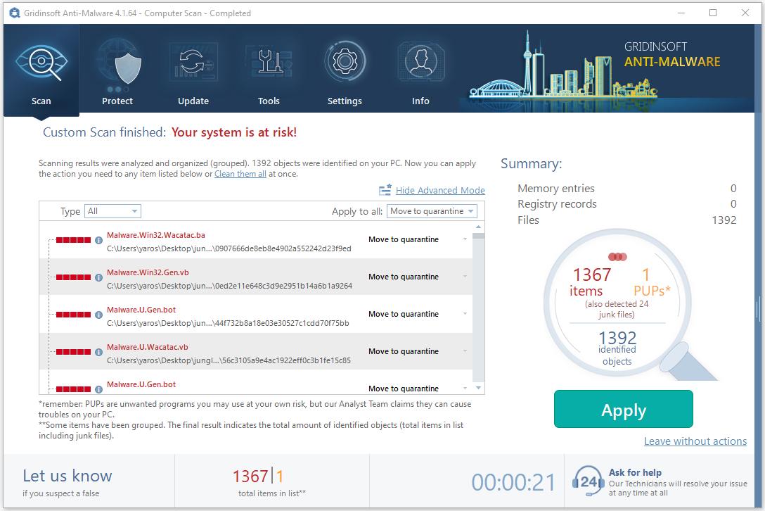 GridinSoft Anti-Malware against 1392 viruses