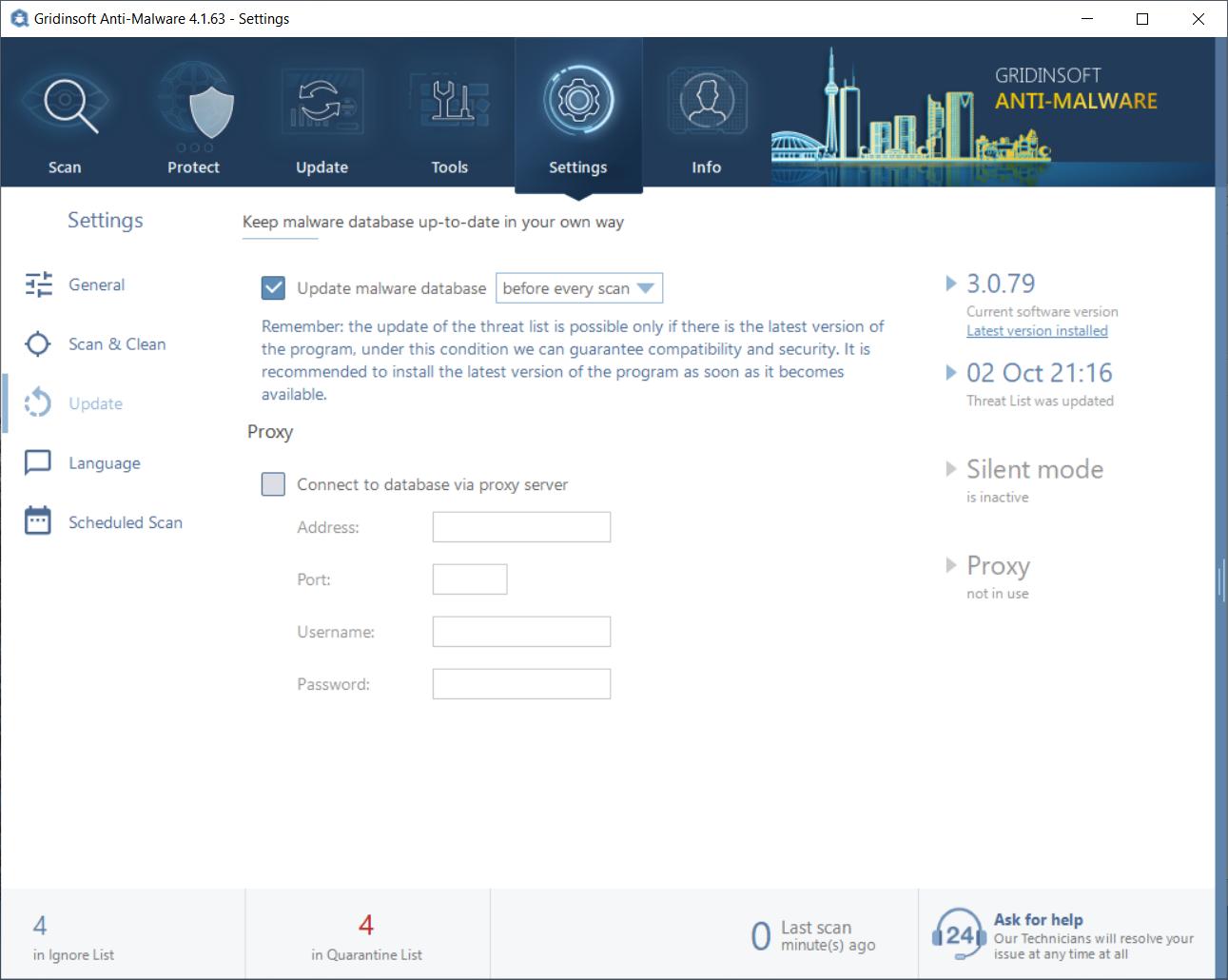 Update settings in GridinSoft Anti-Malware