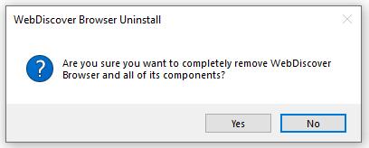 WebDiscover uninstallation window