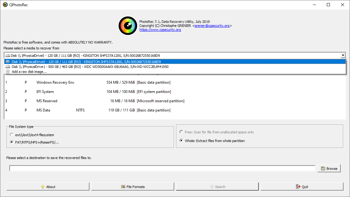 PhotoRec file recovery tool interface