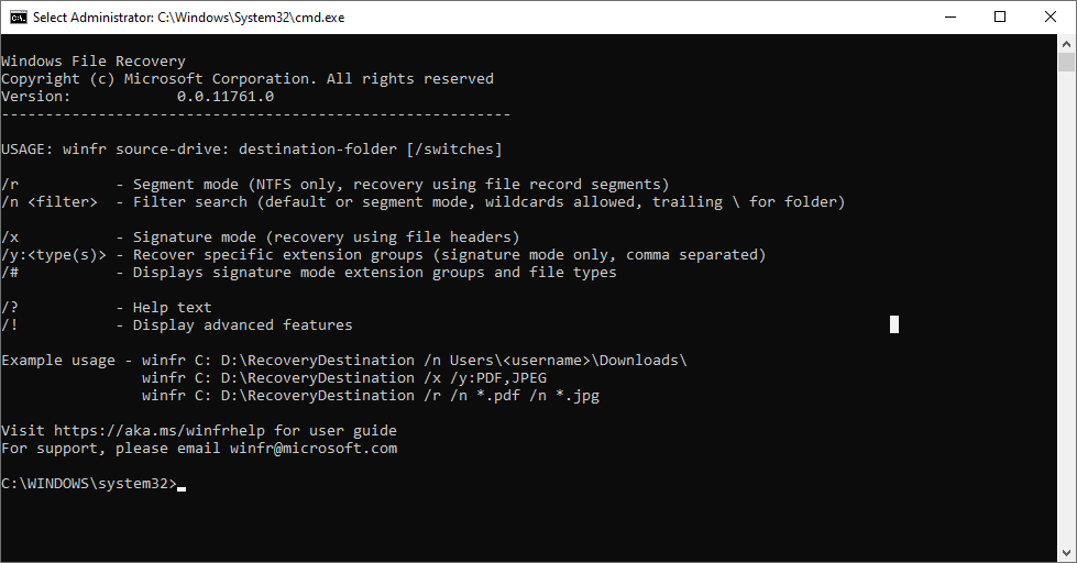 Windows File Recovery tool interface