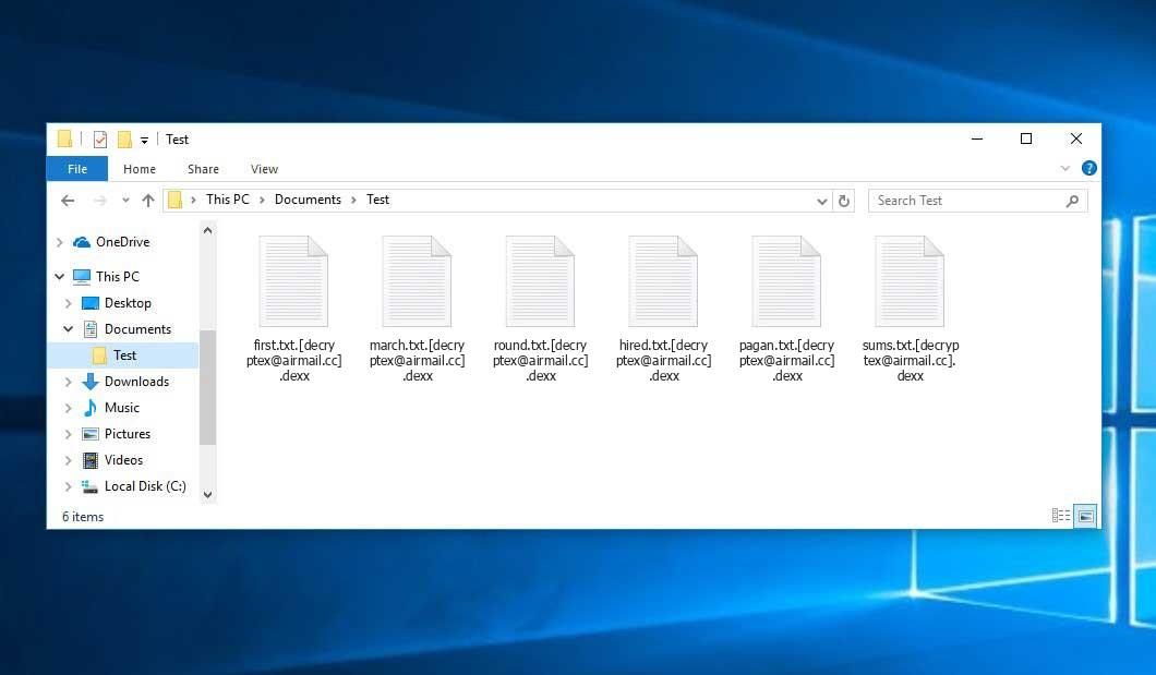 Dexx Ransomware - encrypt files with .[decryptex@airmail.cc].dexx extension