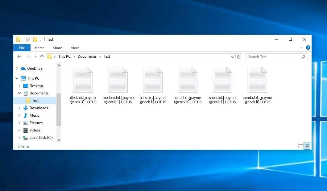 LOTUS Ransomware - encrypt files with .[paymei@cock.li].LOTUS extension